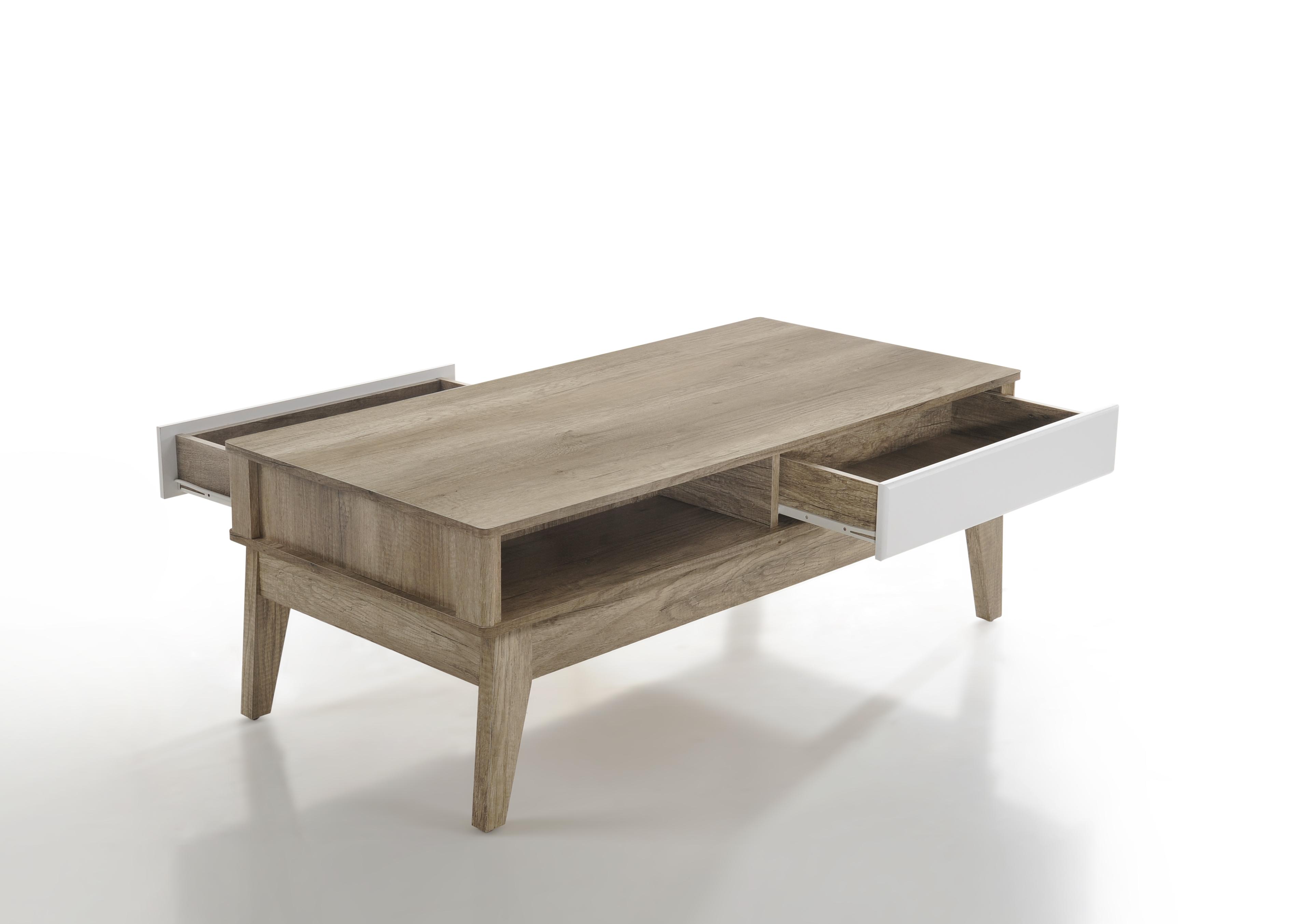 Cevo 2 Drawers Coffee Table Scandinavian Metro Furniture Interior