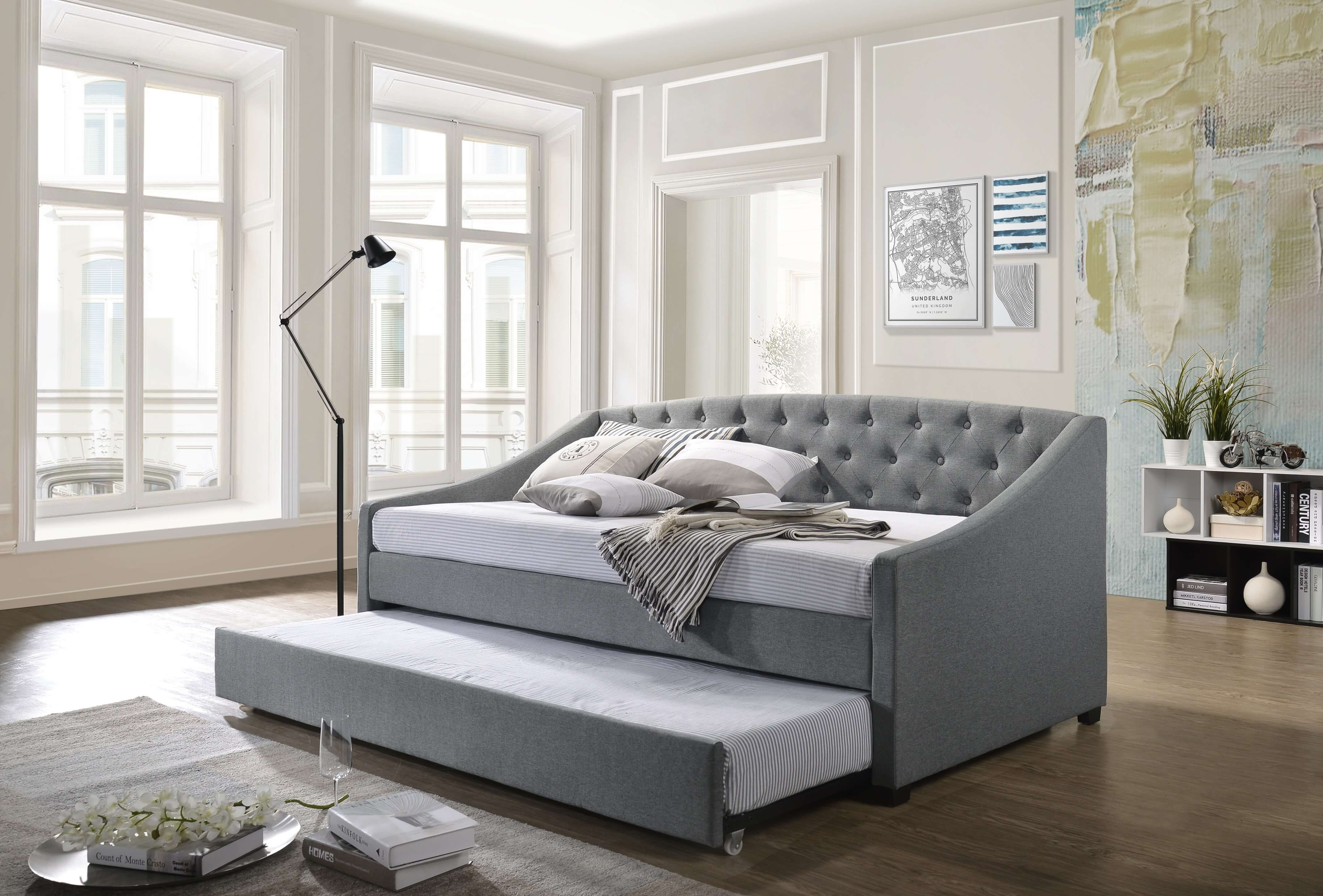 Details about OLSEN Daybed with Trundle Bed Frame Fabric Upholstery Sofa  Single Size Mattress