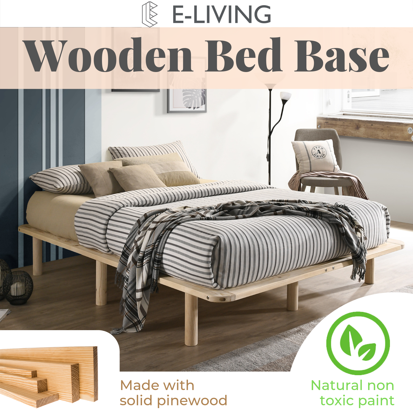 Picture of: Platform Bed Base Frame Pine Wooden King Single Double Queen Natural Toxic Free