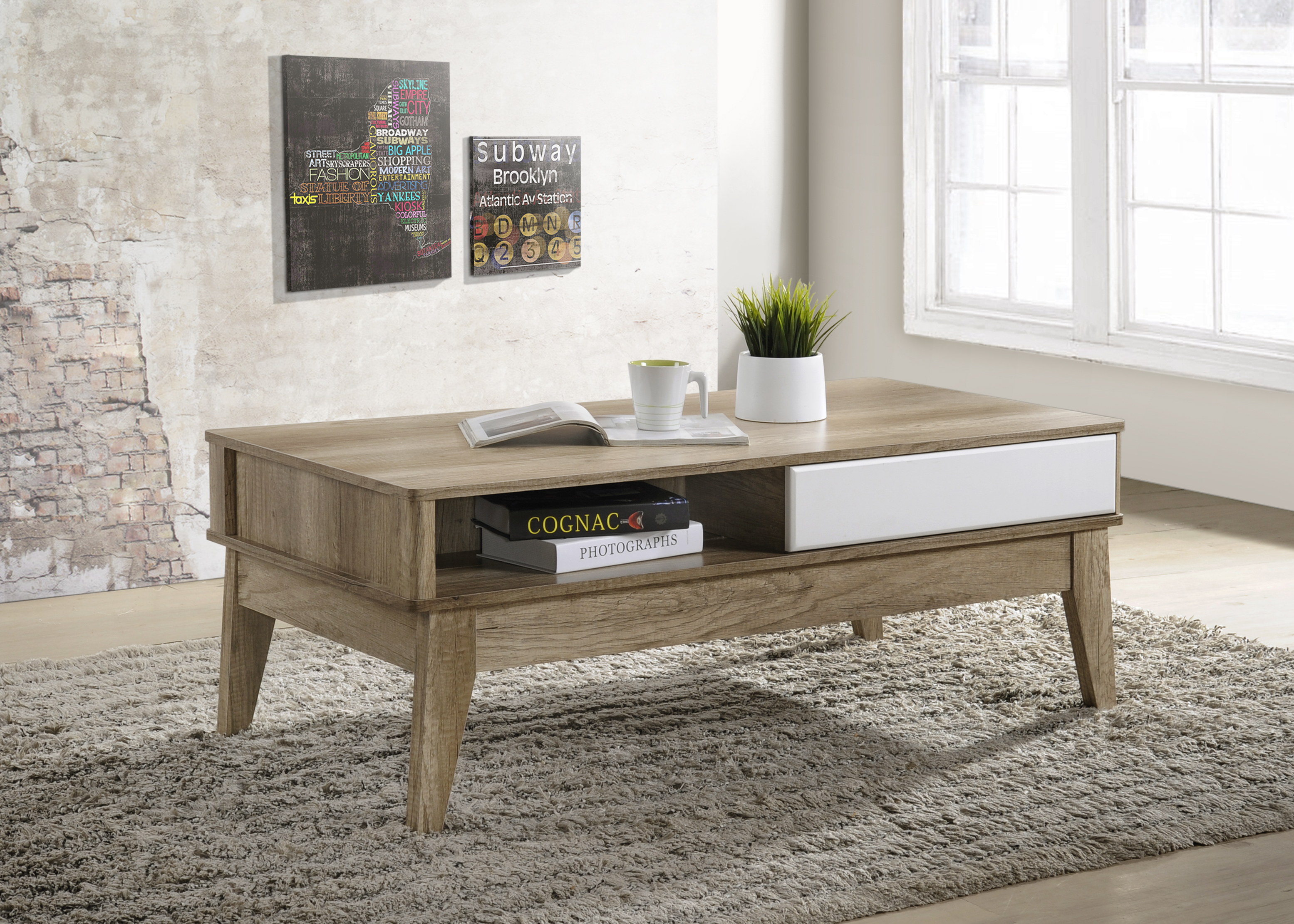 Cevo Scandinavian 2 Drawer Coffee Table