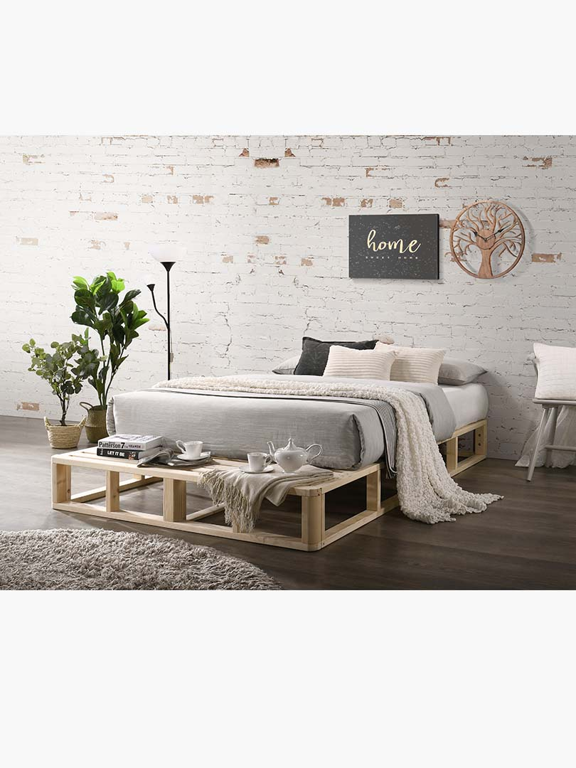 Industrial Wooden Pallet Platform Bed Base Natural Pine King Single Double Queen Ebay
