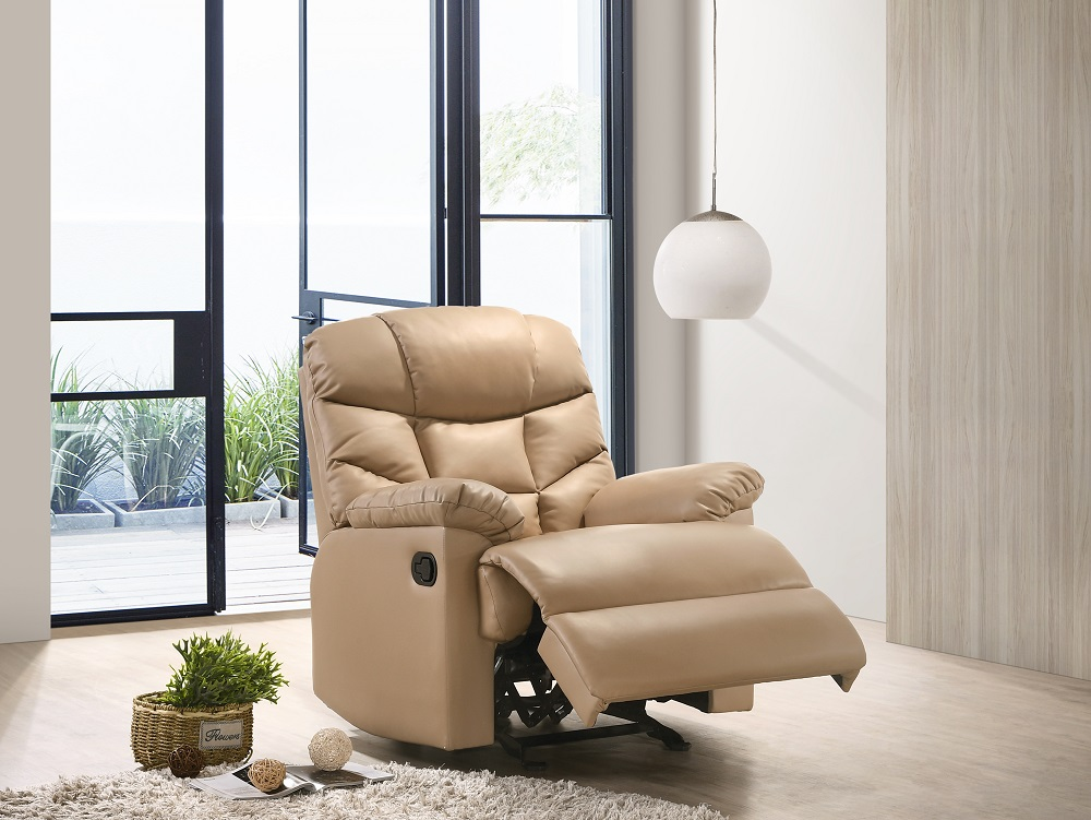 Details about Leather Rocking Recliner Chair Armchair Swing Fabric Gliding Grey and Beige