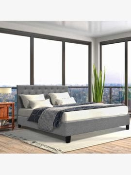 Evan Fabric Bed Frame, Clean minimal design in beautiful lush fabrics with stone grey colour.