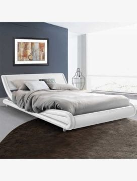 Galore Leather Bed Frame- White coloured with curved design, durable steel frame and solid support leg. Elegant modern touch for your bedroom setting.