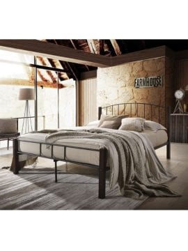 Polo Metal Queen Bed Frame with durable steel construction and clearance space under the bed. Buy Online Australia. On Bedroom setting.