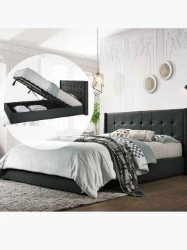 Buy Wooden Gas Lift Bed Frame Australia Online Light Grey Charcoal King Bedroom