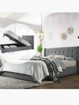 Buy Wooden Gas Lift Bed Frame Australia Online Light Grey Charcoal King Bedroom