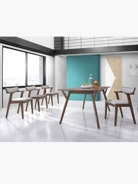 7-piece Migo Dining Set with Table and Chairs in dining room setting