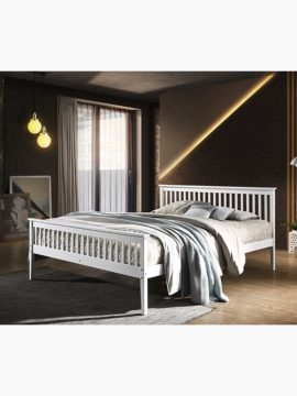 Melissa Wooden Bed Frame-Queen, with wooden surfaces shaded in white colors and a clean-lined design.