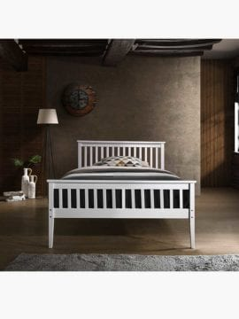 Melissa Wooden Bed Frame-King Single, with wooden surfaces shaded in white colors and a clean-lined design.