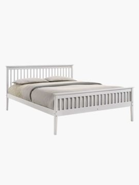 Melissa Wooden Bed Frame, with wooden surfaces shaded in white colors and a clean-lined design.