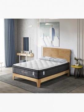 Deep Dream Essential mattress laid on a rustic wooden bed in a Australian minimalist bedroom