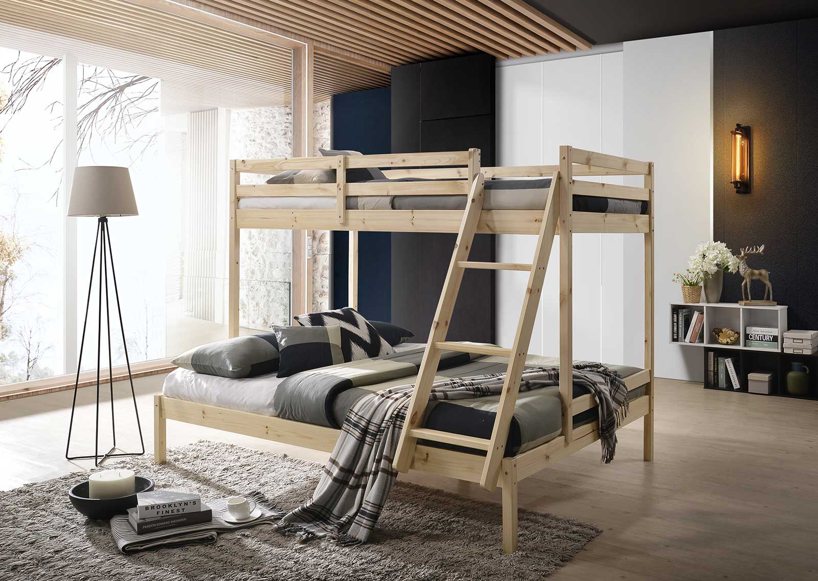 Solid Timber Triple Bunk Bed Frame Single Over Double In Natural E