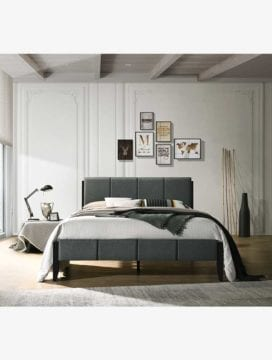 Tiva Bed Frame 4 size, various premium color option with headboard, four strong solid leg could support weight capacity in bedroom setting.