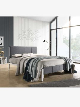 Tiva Bed frame 4 Size-Light Grey, made of steel and owns a clearance space under the bed for more storage.