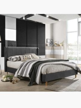 Tacion Bed Frame 3 size- Charcoal colored classic looks with msoft supportive cushioning.