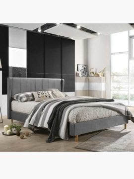 Tacion Bed Frame 3 Size Light Grey colour, soft supportive cushioning creates a perfect spot to rest your head for late night reading or those lazy Sunday mornings in bed.