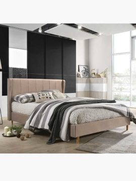 Tacion Bed Frame 3 Size beige colour, soft supportive cushioning creates a perfect spot to rest your head for late night reading or those lazy Sunday mornings in bed.