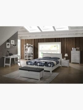 Sven Wooden Bed Frame- 4 Size. Classic design on headboard, footboard and legs with sturdy wood slanted feet