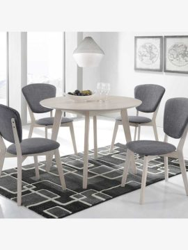 Eva 5-piece round dining set with table and chairs with white washed color and grey upholstery in dining room setting