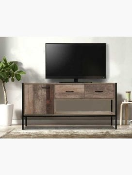 Buy Industrial 125CM TV Stand with Natural Timber Veneer Finish Online Australia Furniture Living Room