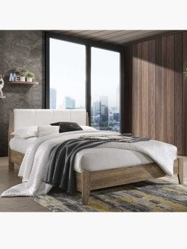 Buy Nobu Bed Frame with Leather headboard White Oak Online Australia for Bedroom