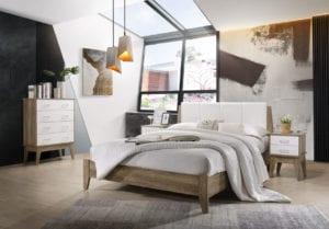 Buy Nobu Bed Frame with Leather headboard White Oak Online Australia for Bedroom
