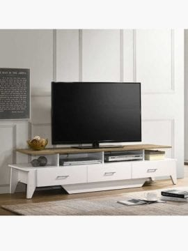 Buy Arvee TV Unit 180CM Matte White and Oak Online Australia Furniture Living Room