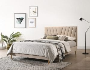 upholstery linen wooden bed frame in beige