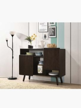 solid rubberwood table buffet unit in black