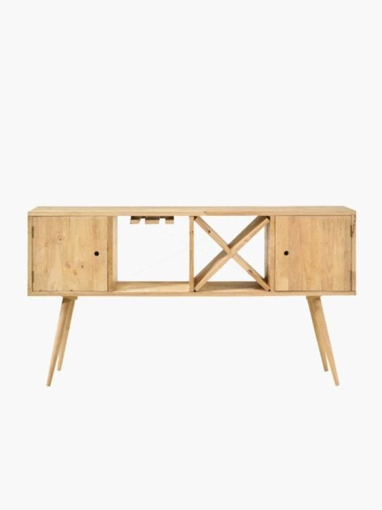 raw solid rubberwood console table in natural