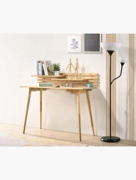solid rubberwood desk in natural
