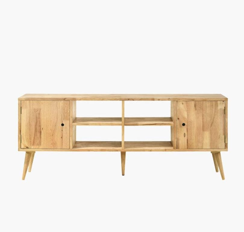solid rubberwood TV stand in natural