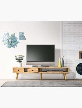 solid rubberwood low TV stand in natural