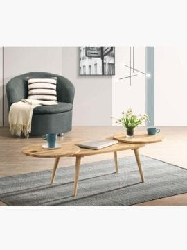 solid rubberwood coffee table in natural color