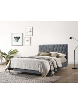 upholstery wooden bed frame in light grey