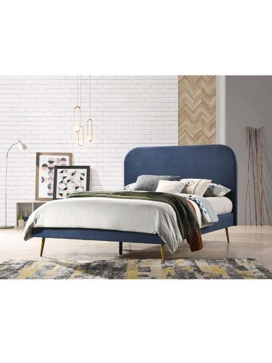 Bedframe With Golden Metal Legs blue