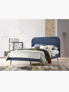 velvet upholstery solid wood bed frame platform bed blue