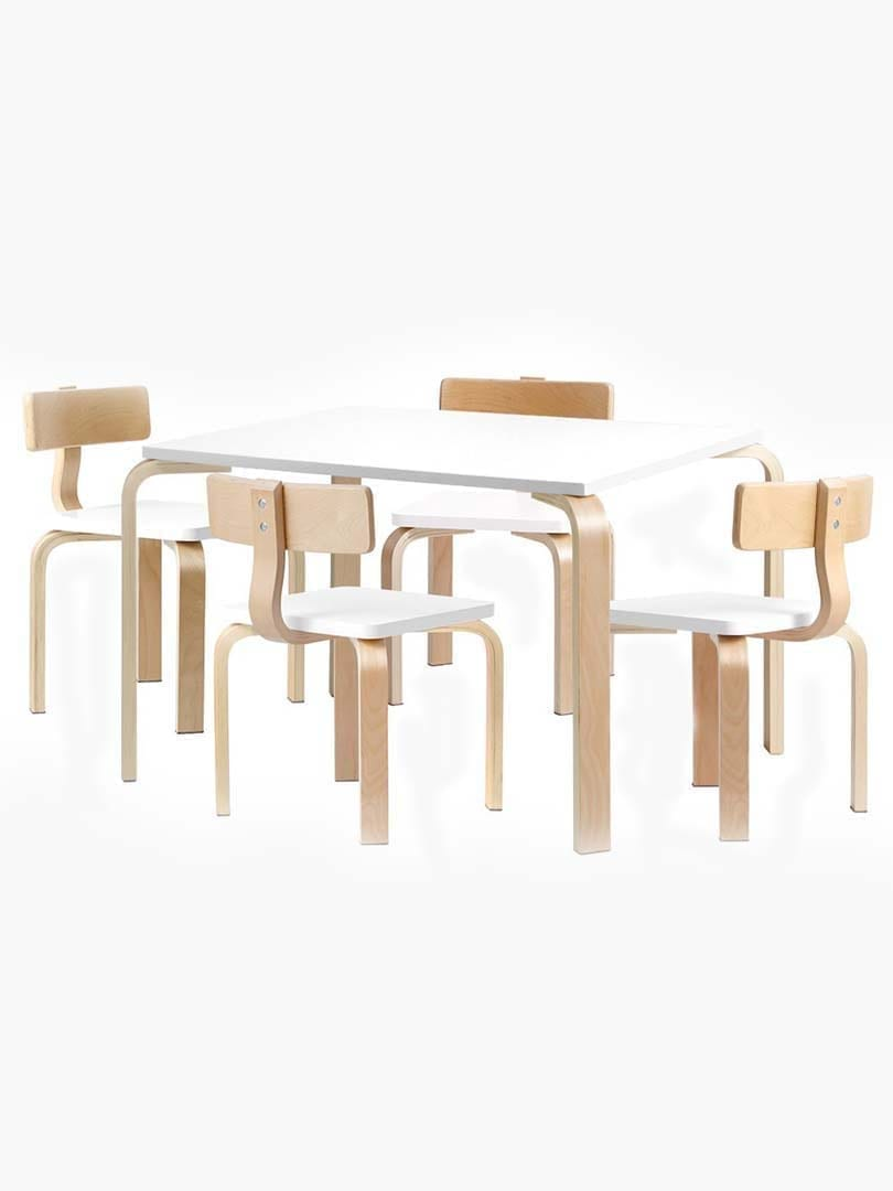 Buy Childrens Table And Chairs Set Kids Furniture Toy Dining White Desk 5pcs Online Australia