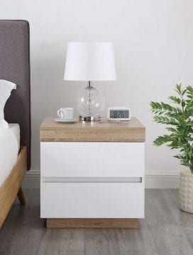 Cuppa White Wooden Bedside Table