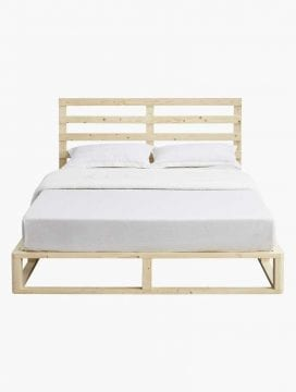Pallet Style Wooden Bed Frame in Natural Coastal