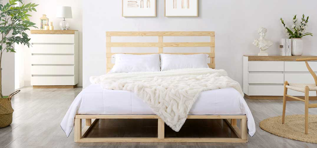 Pallet Style Wooden Bed Frame in Natural Coastal