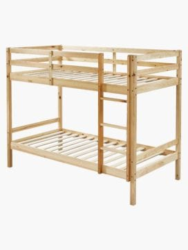 Astro Kids Single Bunk Bed Frame Natural Pine Wood