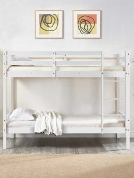 Astro Kids Single Bunk Bed Frame White