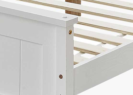 Meelo White Bed Frame Solid Natural Pine Wood