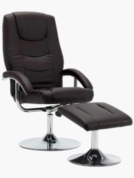 Faux Leather Reclining Office Chair Brown