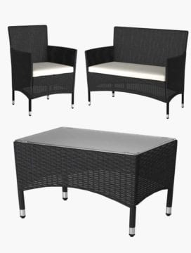 Black Luca Outdoor Balcony Set