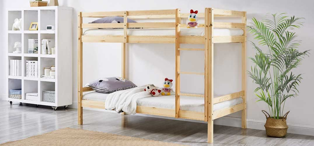 Astro Kids Single Bunk Bed Frame Natural Pine Wood