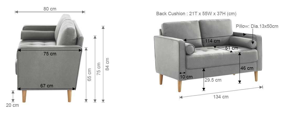 Chloe Sofa Bed 2 Seater LightGrey Dimension