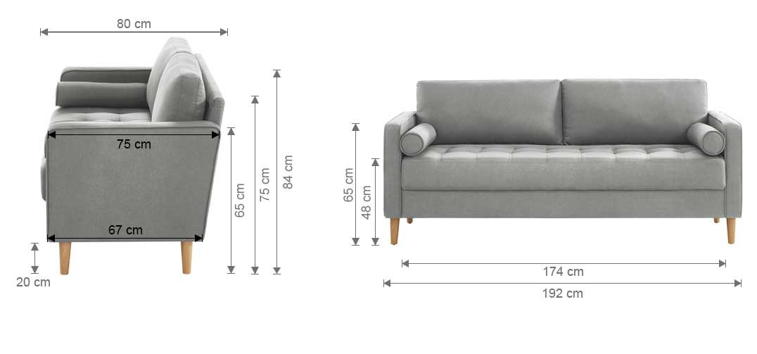 Chloe Sofa Bed 3 Seater Dimension